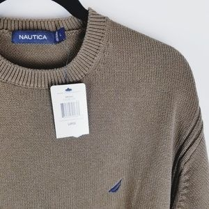 Nautica nwt brown mens Crew neck sweater large
